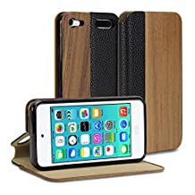 iPod touch 6 wood Case, GMYLE Wallet Case Wooden for iPod touch 6th Generation - Deep Walnut PU Leather Slim Stand Case Cover (with card slot)