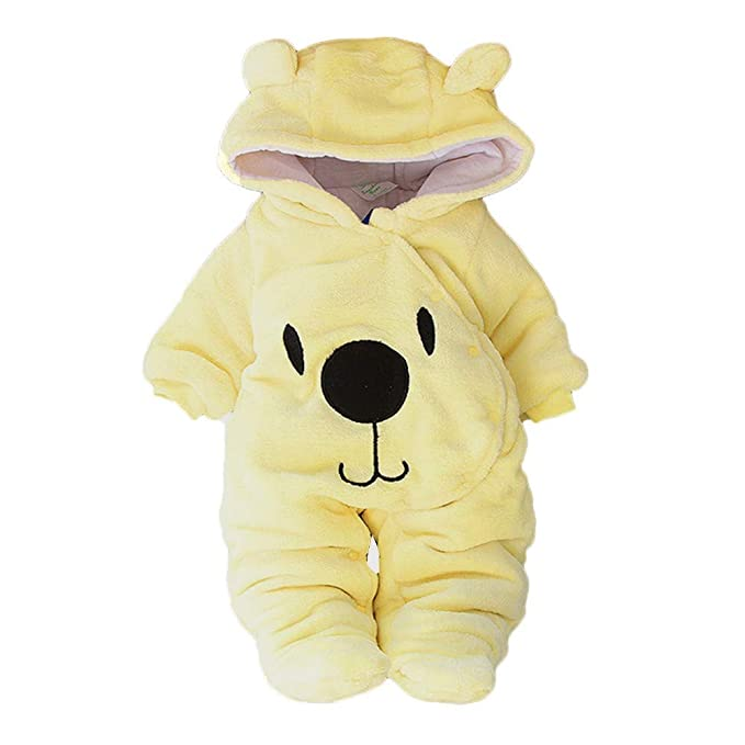 Amazon.com: Baby Girl Boy Solid Cartoon Bear Velvet Hooded Jumpsuit ...