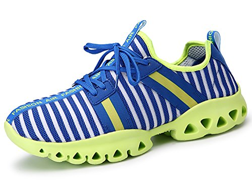 IIIIS-R Zapatillas de Running para Hombre Mujer Trenzado Zapatos para Correr en Montaña y Asfalto Aire Libre y Deportes Fitness Casual azul