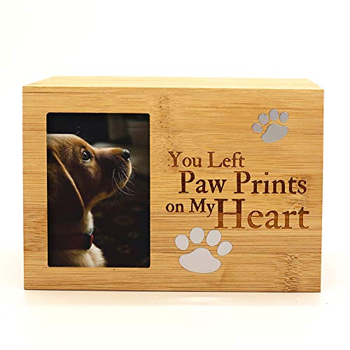 ENBOVE Pet Urns,Photo Frame Funeral Cremation Urns,Ash Urns for Dogs, Small Animal Urn,Burly Wood Keepsake Memorial Urns(6.3 X 4.3 X 4.3 )