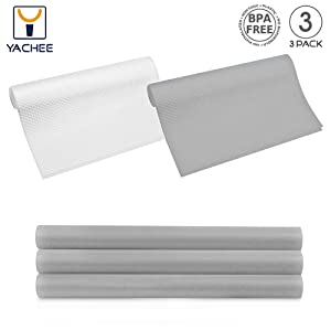"Yachee 3 Rolls EVA Cabinet Liners, Non-Slip Non-Adhesive Shelf Liners for Kitchen Cabinets Cupboard Drawer Cushion Shelves, DIY Multipurpose Refrigerator Liners, 18"" x 60""- Light Grey"