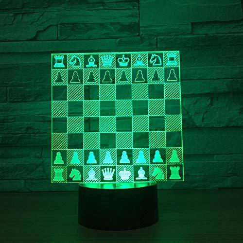 QIANDONG1 Ajedrez 3D Lámpara Led 7 Colores Lámparas Nocturnas Lámpara Led Led Mesa USB Lampara Dormir Decoración para el...