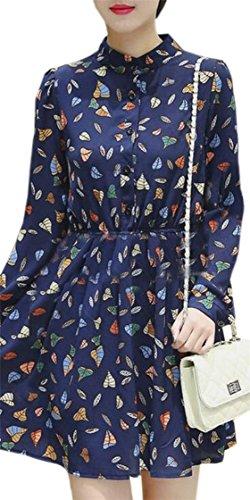 Jaycargogo Mode Féminine Bouton Floral En Mousseline De Soie À Manches Longues Vers Le Bas Des Robes Mini-1