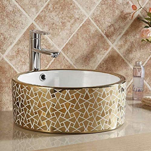売れ筋 正規品送料無料  GUONING-L ロイヤル磁器ヨーロッパスタイルの家庭用洗面台セラミックゴールデンアートラウンドセラミック洗面台のバスルームのシンク