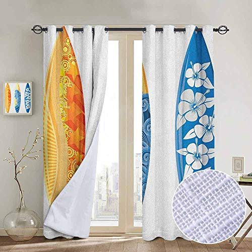 - NUOMANAN Blackout Curtains Surf,Ornate Colorful Surfboards Vocation Fun Water Sports Moving Waves Lifestyle, Blue Orange Yellow,Insulating Room Darkening Blackout Drapes for Bedroom 84