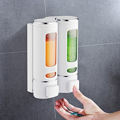 Wall Mounted Soap Dispenser, 2X400milliliter Bathroom Double Shower Dispenser Shampoo Lotion Storage Hand Cream Gel Conditioner for Bathroom/ Kitchen/ Hotel