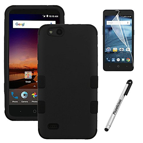 ZTE AVID 557 Case / ZTE TEMPO GO Case, Phonelicious Case [Heavy Duty] [Shock Absorption] [Drop Protection] [Hybrid] Impact Phone Tuff Cover + Screen Protector & Stylus (BLACK BLACK)