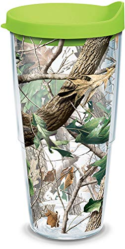 Tervis 1157409 Realtree - Camo Hardwoods Knockout Tumbler with Wrap and Lime Green Lid 24oz, Clear