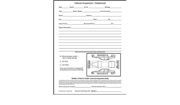 Amazon.com : Vehicle Inspection Worksheet-(100/pack) : Automotive ...