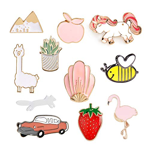 MJartoria Car Flamingo Alpaca Novelty Cartoon Enamel Brooch Pin Set of 11 (car)