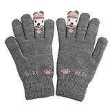 New Tuscom Knitting Five-Finger Ladies Plus Velvet Warm Cartoon Gloves|for Women Girl Ladies Warm in Winter Gloves(4 Colors) (Gray)