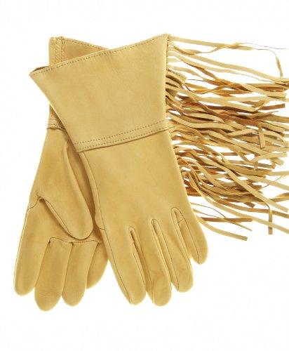 Geier Glove Men's Lined Western Fringe Deerskin Gauntlets Size 9 Color Tan