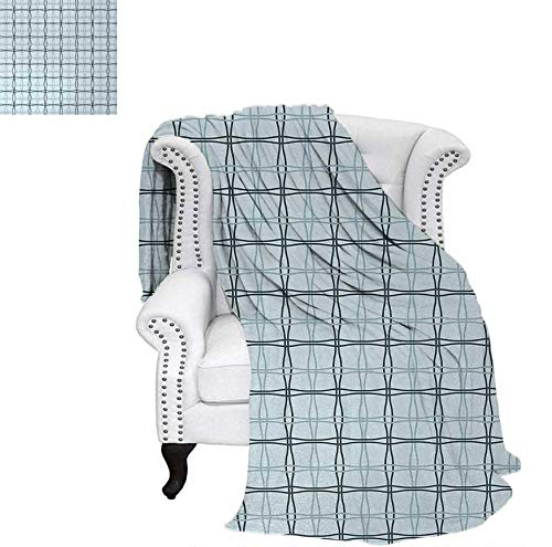 Throw Blanket Square Patterns with Wavy Lines Spring Picnic Inspired Image Warm Microfiber All Season Blanket for Bed or Couch 60