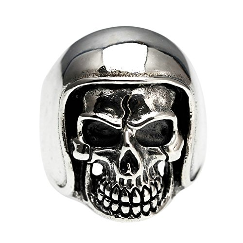 Adisaer Biker Rings Silver Ring for Men Motorcycle Helmet Skull Ring Size 7 Vintage Punk Jewelry by Adisaer