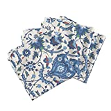 Roostery Indian Persian Damask Renaissance Medieval Islamic Turkish Organic Sateen Dinner Napkins Bisāṭ 694B by Muhlenkott Set of 4 Dinner Napkins