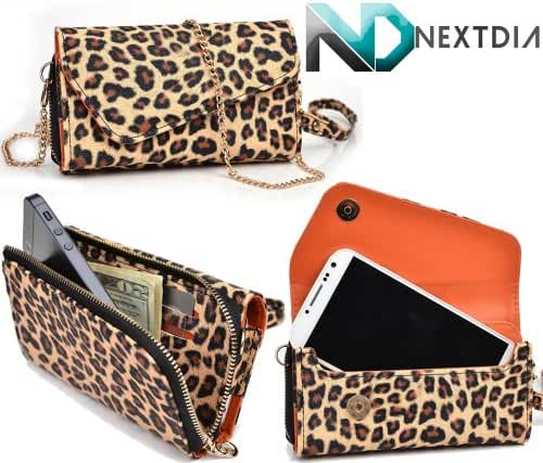 Blu Life One L120 Womens Wristlet Clutch Case {Classic Leopard Print with Matte Trance Orange} with Credit Card Holder and Crossbody Shoulder Strap