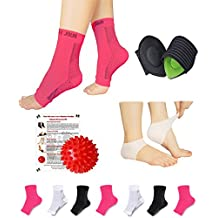NEW Plantar Fasciitis Pain Relief Recovery Kit - Foot Compression Sleeve, Heel Protectors, Cushioned Arch Support Wrap, Foot Massage Ball for Foot Pain Relief