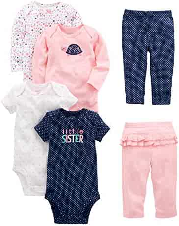 Simple Joys by Carter's Baby Girls' 6-Piece Bodysuits (Short and Long Sleeve) and Pants Set