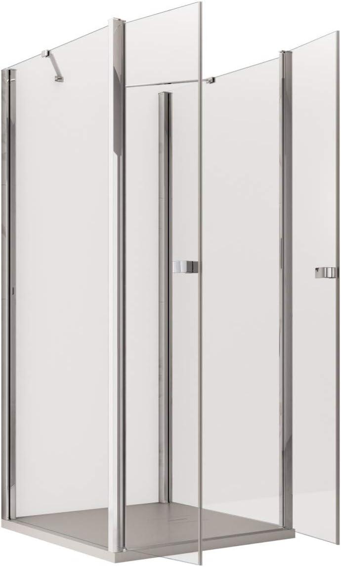 Olimpo - Mampara de Ducha con Tres Lados angulares, Altura de 195 cm, Puerta Saloon, Cristal de 6 mm, Transparente: Amazon.es: Hogar