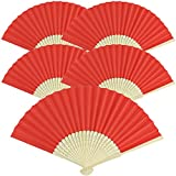 hand fans red - Just Artifacts Folding Paper Hand Fan 8.25