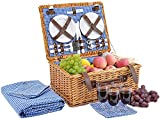 Picnic Basket for 4 Person | Picnic Hamper Set | Folding Picnic Blanket | Picnic Table Set | Picnic Plates | Picnic Supplies | Summer Picnic Kit | Picnic Utensils | Picnic Cutlery Set Flatware Set