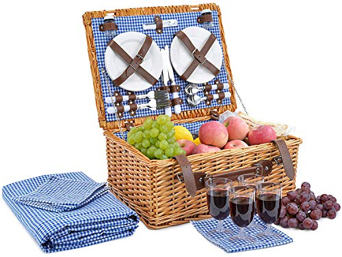 Picnic Basket for 4 Person Picnic Hamper Set Folding Picnic Blanket Picnic Table Set Picnic Plates Picnic Supplies Summer Picnic Kit Picnic Utensils Picnic Cutlery Set Flatware Set