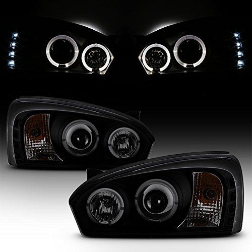 Malibu Halo Projector Headlights - For Chevy Malibu Black Smoked Dual Halo Ring LED Design Projector Headlights Front Lamps Replacement