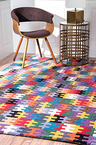 Hand Tufted Riveted Jigsaw Fragments Multi Area Rugs, 7 Feet 6 Inches by 9 Feet 6 Inches (7' 6