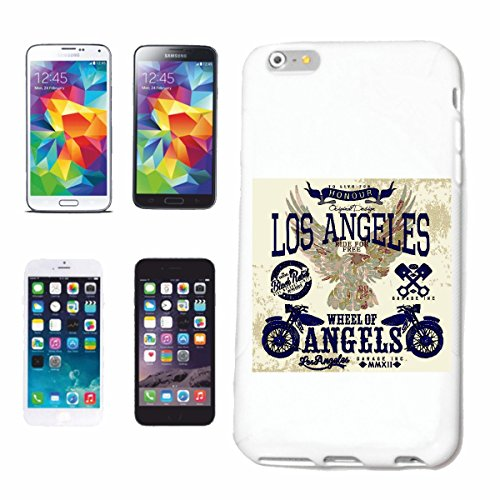 "cas de téléphone iPhone 7S ""LOS ANGELES ROUE DES ANGES HONOUR BIKER SHIRT MOTO CHOPPER MOTO GOTHIQUE SKULL MOTO CLUB BIKE ROUTE 66"" Hard Case Cover Téléphone Covers Smart Cover pour Apple iPhone en bl"