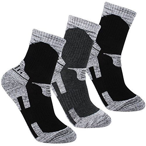 JINGJING 3Pack Mens Outdoor Sports Hiking Ankle Socks Thick Padded Cushion Performance Socks