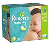 Pampers Baby Dry Diapers Economy Plus Pack - (Size 2) 222 Count, New!!!