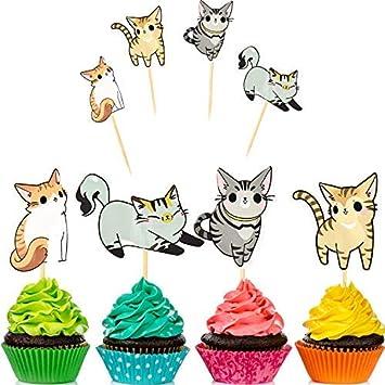 72 Pièces Pour Cupcakes Chat Adorable Chaton Picks De Gâteau D