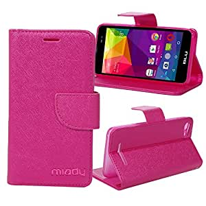 BLU Advance 5.0 case, Miady PU Leather Magnetic Folio Wallet Case ONLY for BLU Advance 5.0 Phone - Rose Red
