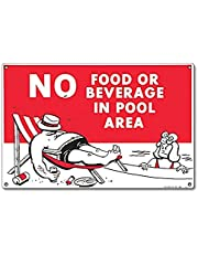 Poolmaster 40369 No Food or Beverage Sign for Residential or Commercial Pools