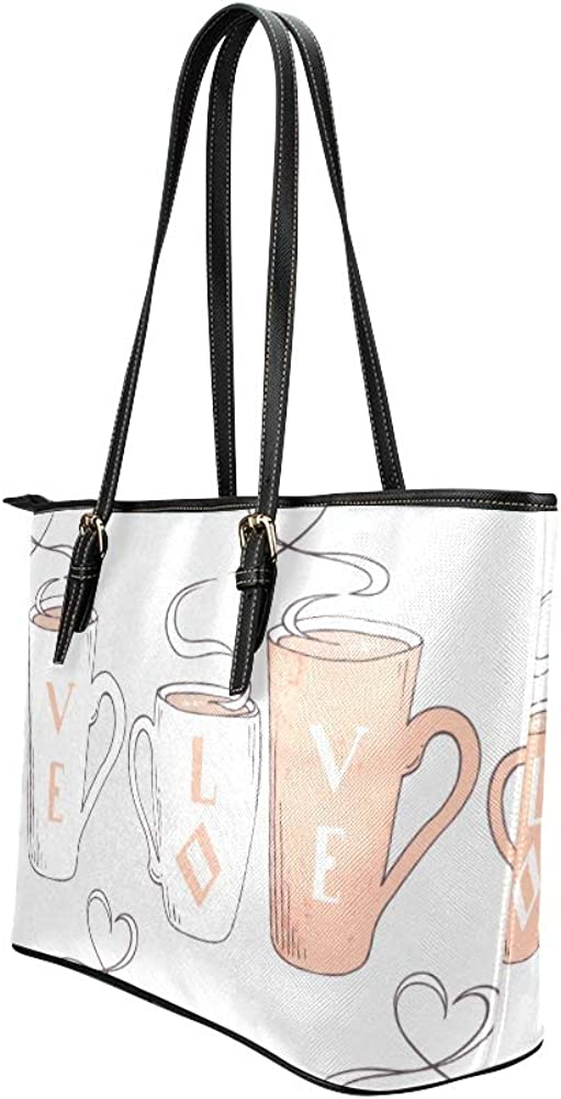 Square Handbags For Women Couple Cups Sweet Love Valentine Day Leather Hand Totes Bag Causal Handbags Zipped Shoulder Organizer For Lady Girls Womens Bags Organizer For Women