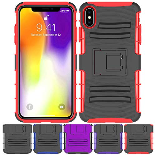 Price comparison product image iPhone Xs MAX Stand Case,  HLCT Rugged Shock Proof Dual-Layer Case with Built-in Kickstand for iPhone Xs MAX (Red)