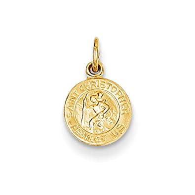 Amazon looptyhoops small 14k yellow gold saint christopher looptyhoops small 14k yellow gold saint christopher medal charm pendant 9mm x 8mm mozeypictures Images