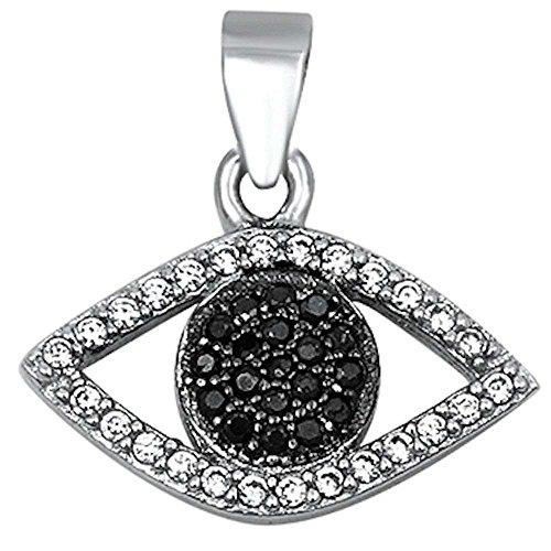 (Black & White Cubic Zirconia Evil Eye .925 Sterling Silver Pendant)
