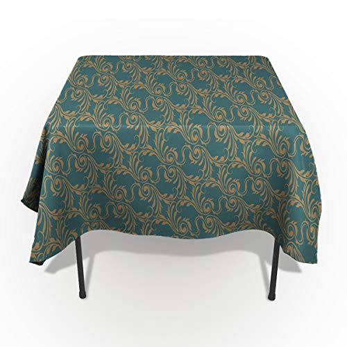 60 x 84 Inch Rectangle Tablecloth - Vintage Paisley Jacquard Green Rectangular Polyester Table Cloth Table Covers Linen Decor - Great for Kitchen Table, Parties, Holiday Dinner, Wedding & More