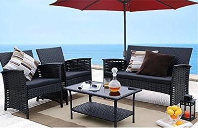 Premium Patio USA Patio Furniture Conversation Set Clearance 4 Piece Waterproof Wicker