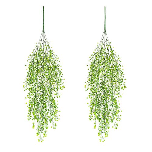 Artificial Ivy Fake Hanging Vine Plants Decor Plastic Greenery for Home Hotel Office Kitchen Wedding Party Garden Craft Art Decor Hanging Basket (Pack of 2PCS/Green)