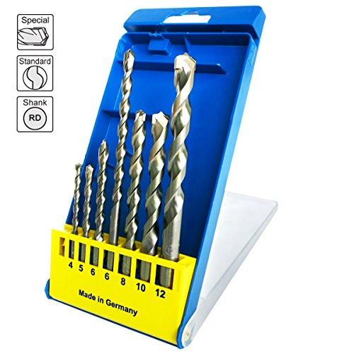 S&R Betonbohrer Set, Superschlag mit zylindrischem Schaft in Kunststoffbox 7Stk: 4x85, 5x85, 6x100, 6x150,8x120, 10x120,12x150 mm./MADE IN GERMANY