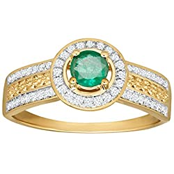 3/8 ct Natural Emerald & 1/5 ct Diamond Ring in 14K Gold