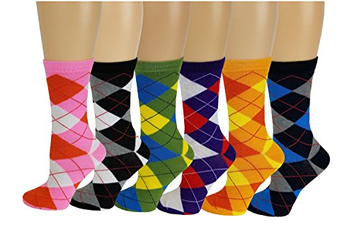 Sumona 6 Pairs Women Colorful Fancy Design Soft & Stretchy Novelty Crew Socks (Argyle New)