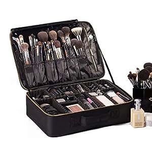 ROWNYEON Travel Makeup Bag Cosmetic Makeup Train Case Artist Makeup Organizer Professional Portable Storage Bag for Women Girl Waterproof EVA ...