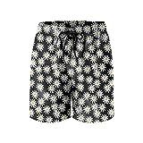 ERTUPBNXD Daisy on Black Background Man's Summer Sports Shorts Personalized Quick Dry Swim Trunks