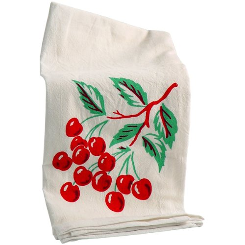 Vintage Dish Towel - Red and White Kitchen Cherries Kitchen Flour Sack Towel