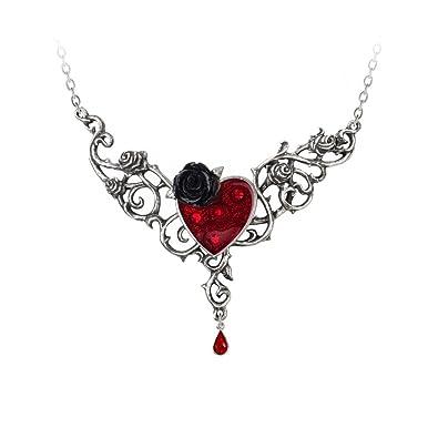 Alchemy Gothic Blood Rose Heart Necklace YA49Cfs5