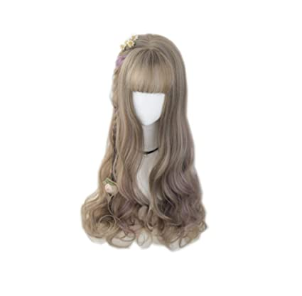 Mujeres largo rizadas peluca cosplay peluca resistente al ...