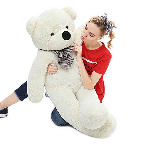 MorisMos Giant Teddy Bear Stuffed Animals Plush Toy White Teddy Bear for Girlfriend Kids (White, 55 Inch)